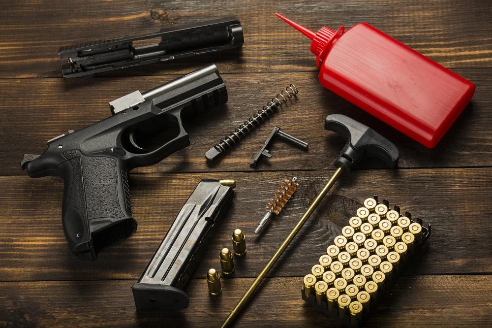 Hand gun on table