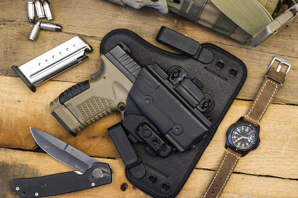 Handgun on table