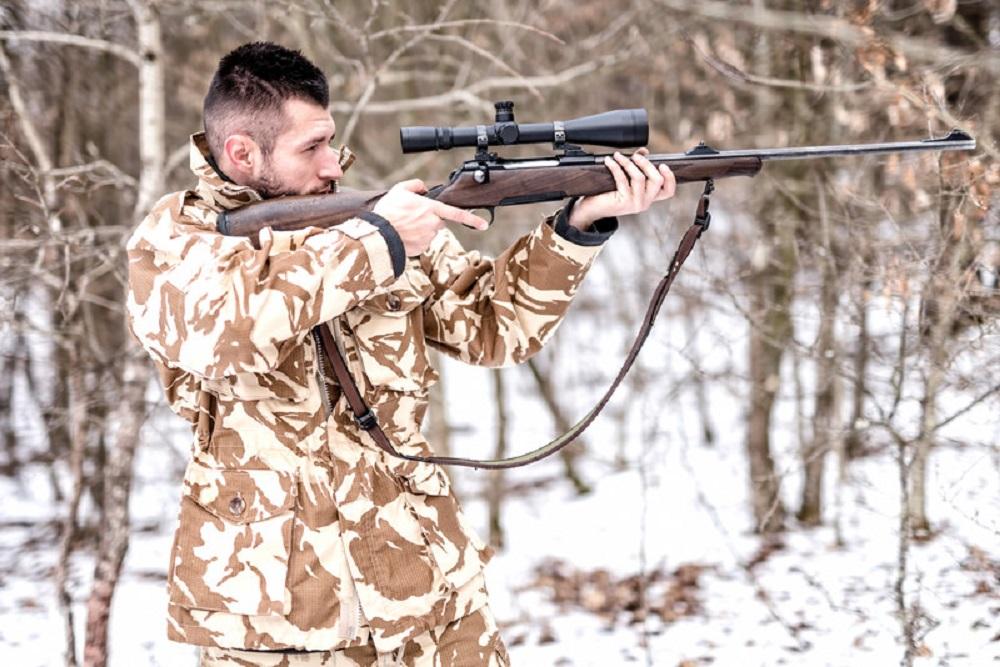 Hunter aiming at target