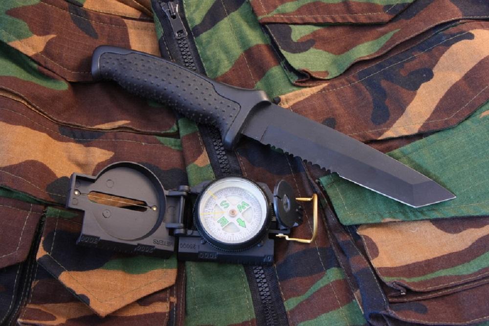survival gear on a cloth