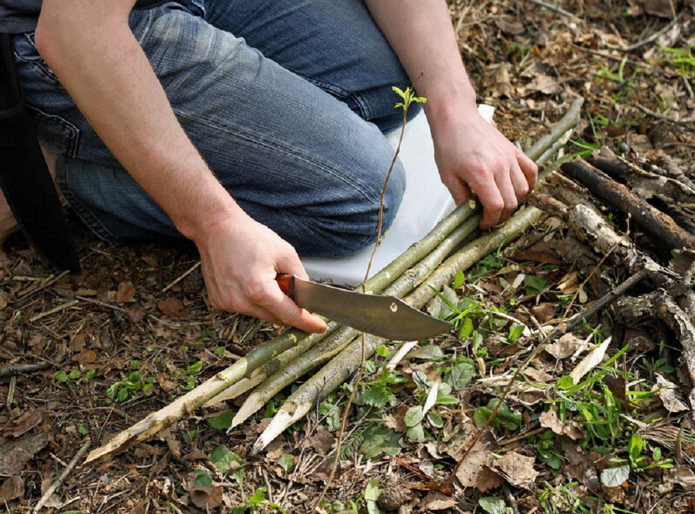 preparing to cut sticks