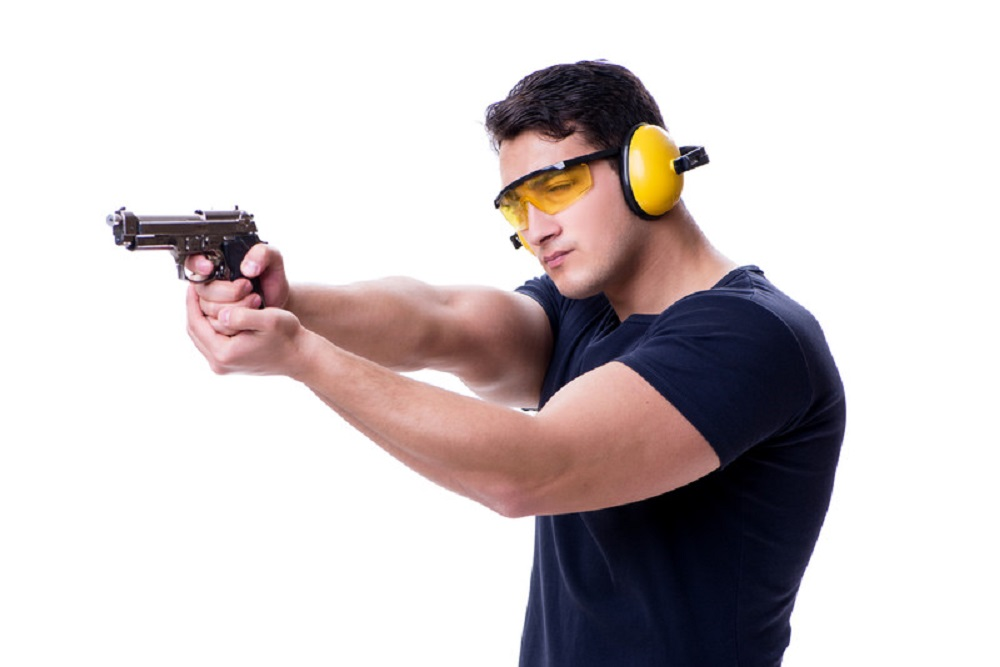man in shooting gear