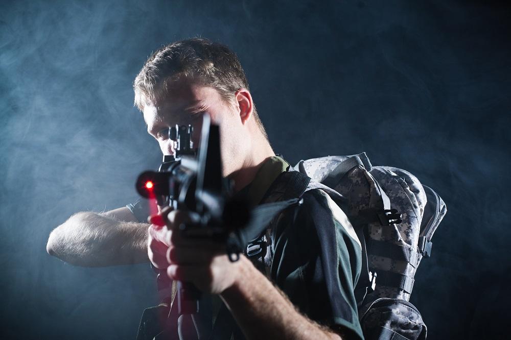 Soldier with laser gun