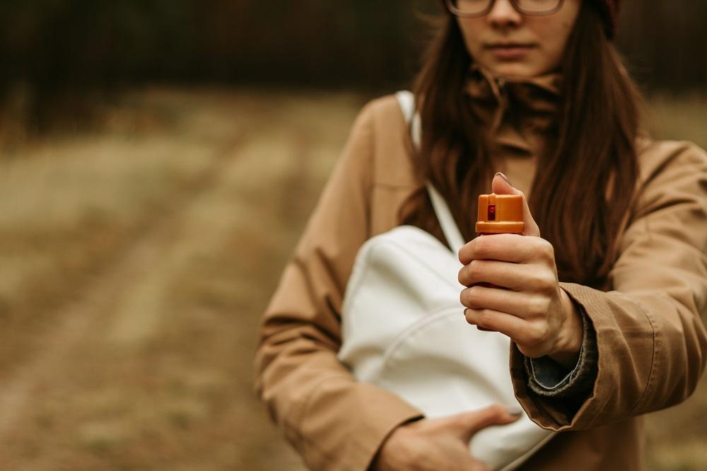girl ready to pepper spray